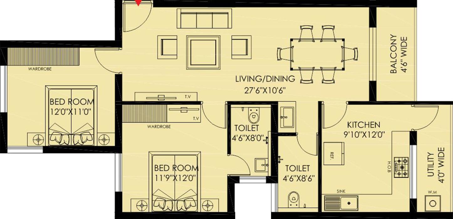 Bharathi manjeeth residency by bharathi builders in urwa for X2 residency floor plan