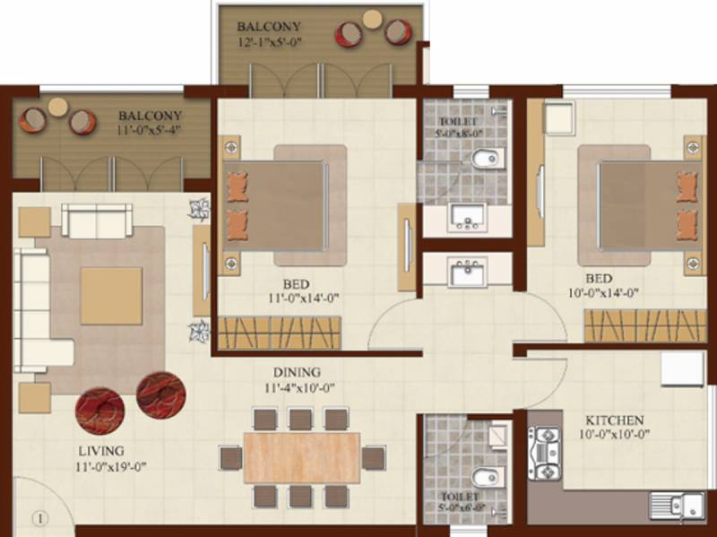 1300 Sq Ft 2 Bhk Floor Plan Image Br Property Developers