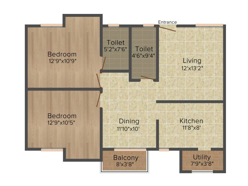 Kriticons Green Lakes (2BHK+2T (1,085 sq ft) 1085 sq ft)