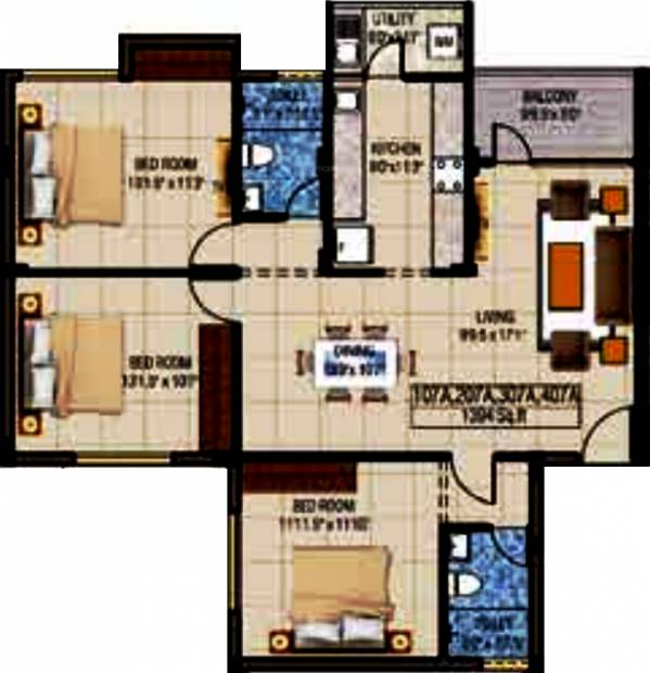Kriticons Green Lakes (3BHK+2T (1,394 sq ft) 1394 sq ft)