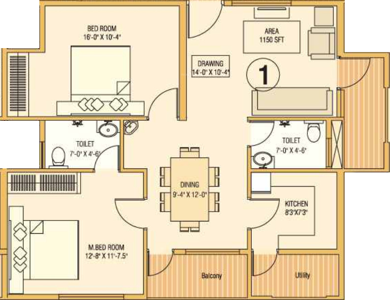 1150 sq ft 2 bhk 2t apartment for sale in mega meadows for 1150 sq ft house plans