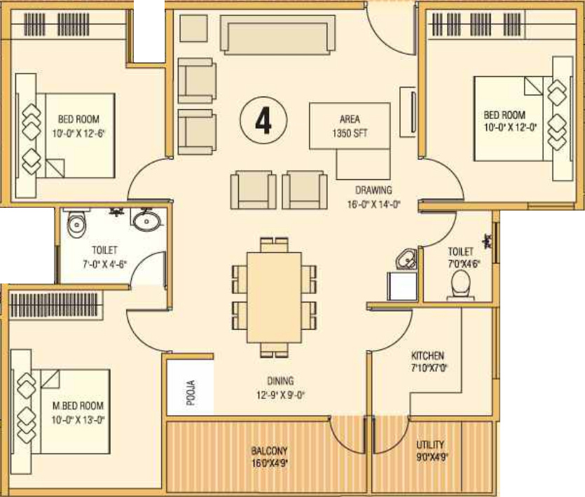 1350 Sq Ft 3 Bhk 2t Apartment For Sale In Mega Meadows