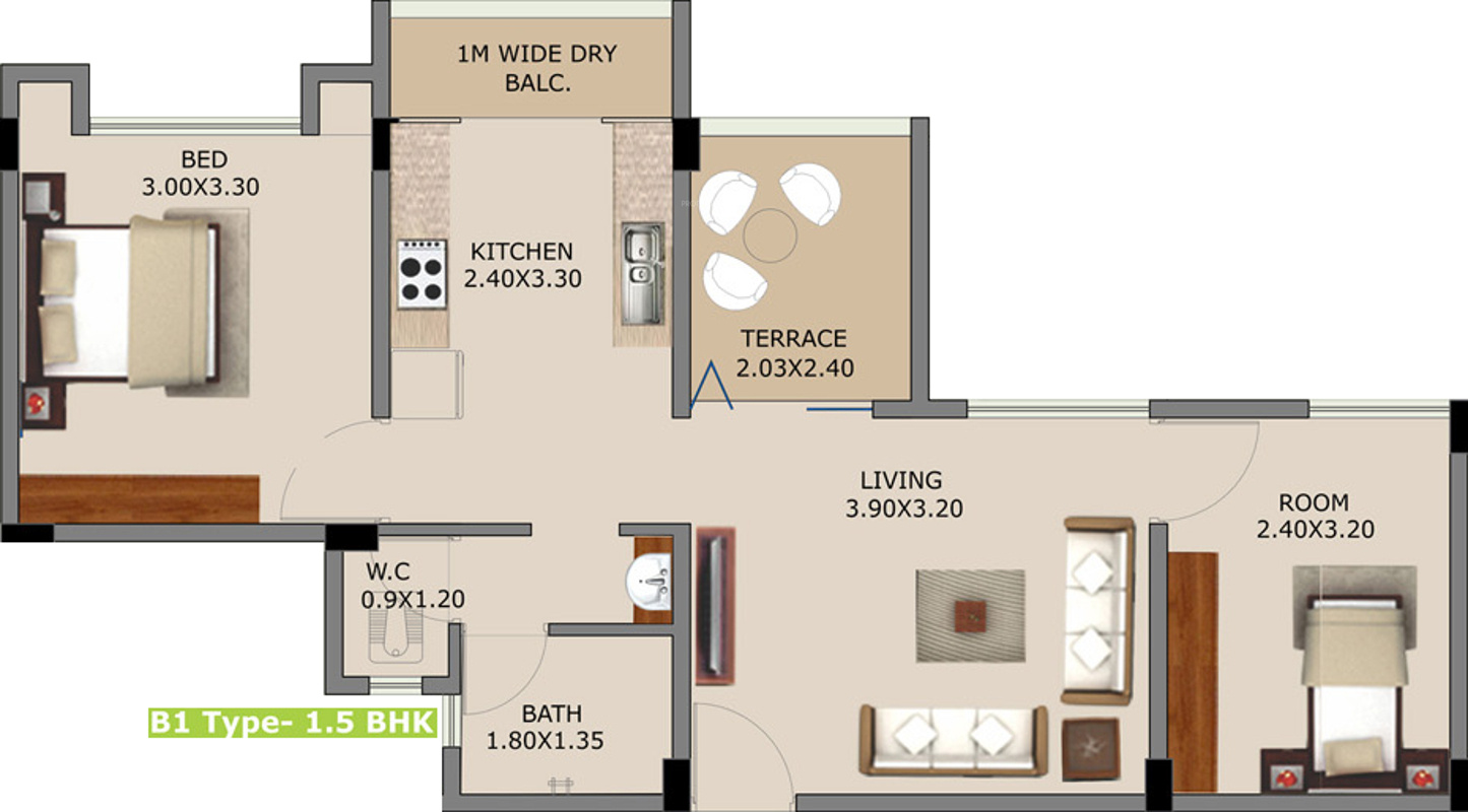 750 Sq Ft 1 Bhk 1t Apartment For Sale In Ivory Lifespaces