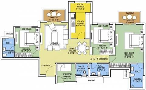 1820 Sq Ft 3 Bhk Floor Plan Image Dlf Westend Heights New Town Available For Sale Proptiger Com