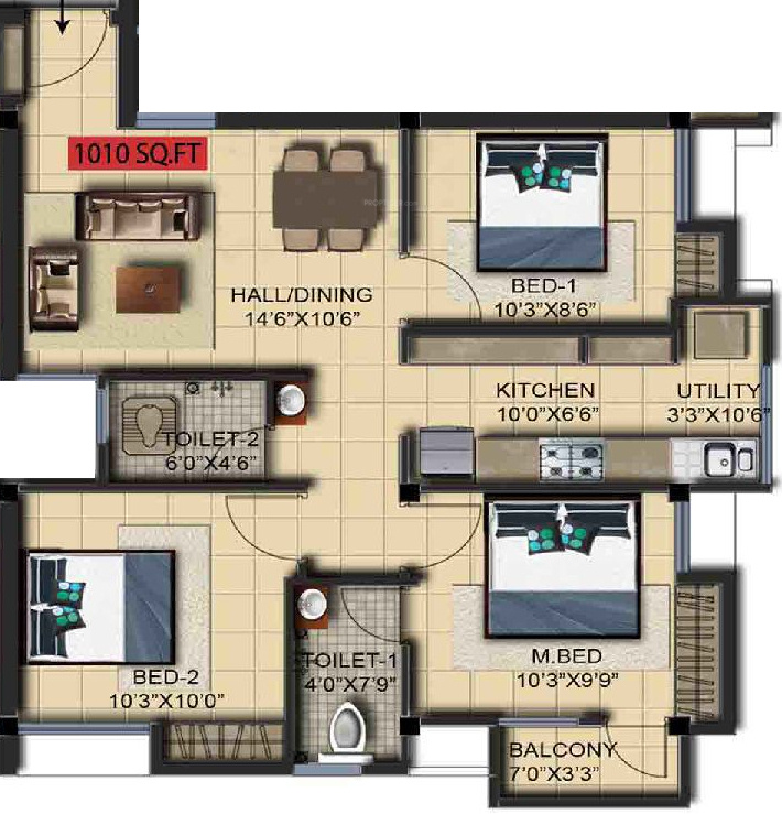 1010 sq ft 3 bhk 2t apartment for sale in residency for X2 residency floor plan