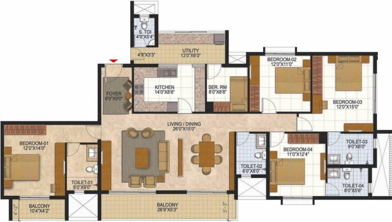Prestige West Woods (4BHK+4T (2,563 sq ft) + Servant Room 2563 sq ft)