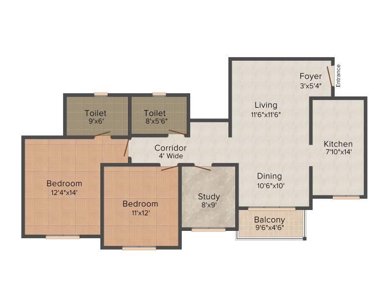 Prestige West Woods (2BHK+2T (1,376 sq ft) + Study Room 1376 sq ft)