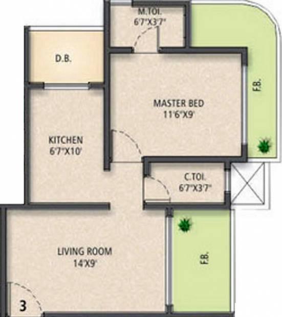 Jet Sai Residency (1BHK+2T (760 sq ft) 760 sq ft)