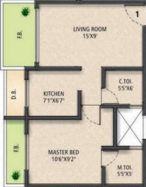 Jet Sai Residency (1BHK+2T (780 sq ft) 780 sq ft)