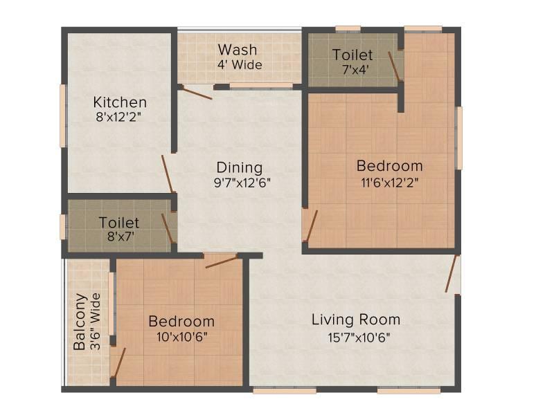 Primark Sri Ram Residency (2BHK+2T (1,075 sq ft) 1075 sq ft)