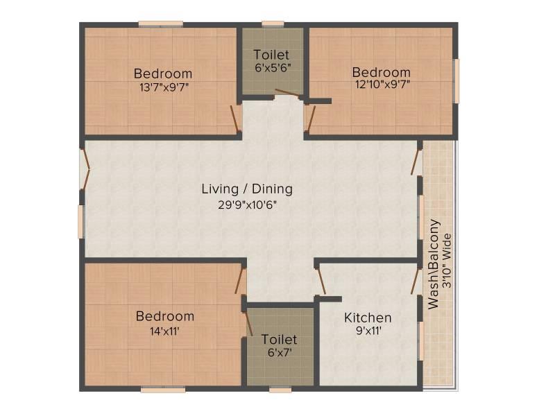 Primark Sri Sai Residency (3BHK+2T (1,400 sq ft) 1400 sq ft)