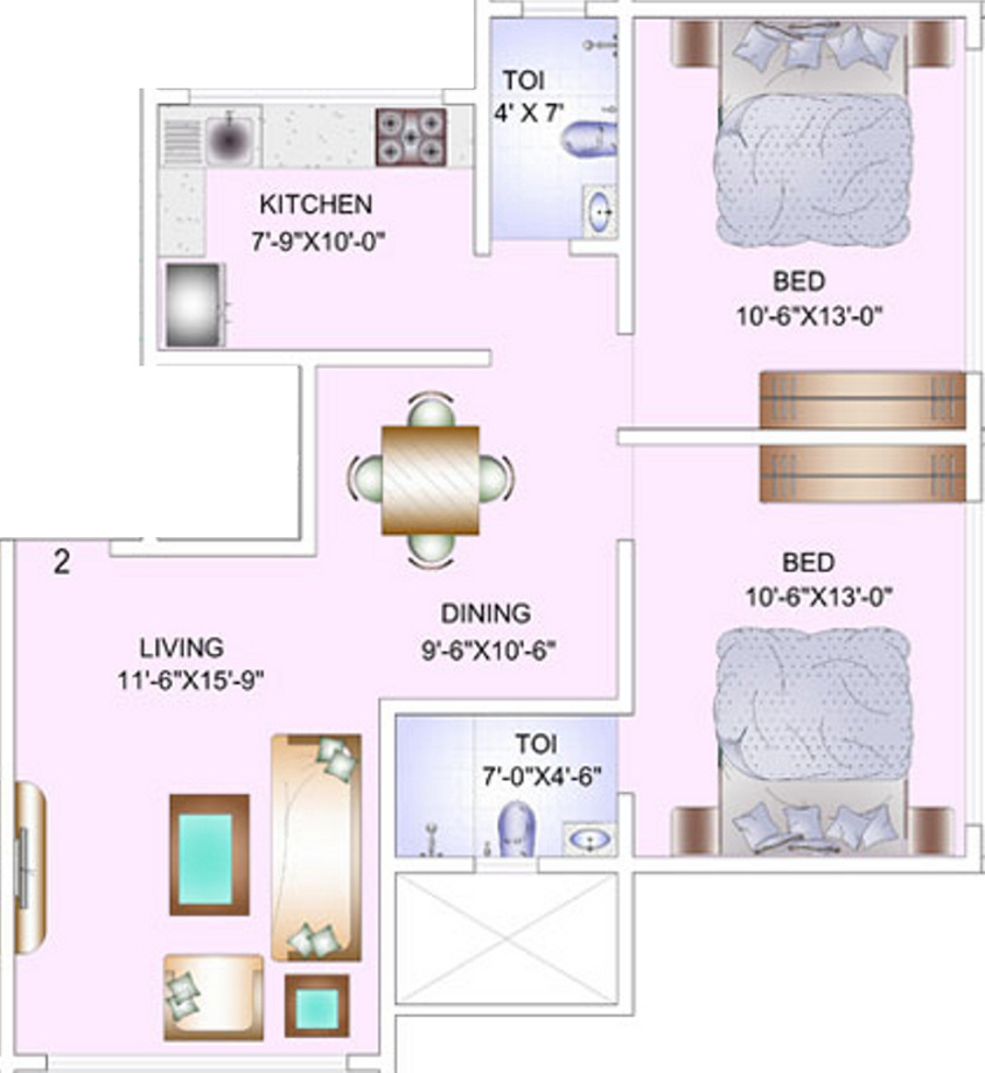 1250 sq ft 2 BHK + 2T Apartments in Zodiac Ventures Limited Venus ...