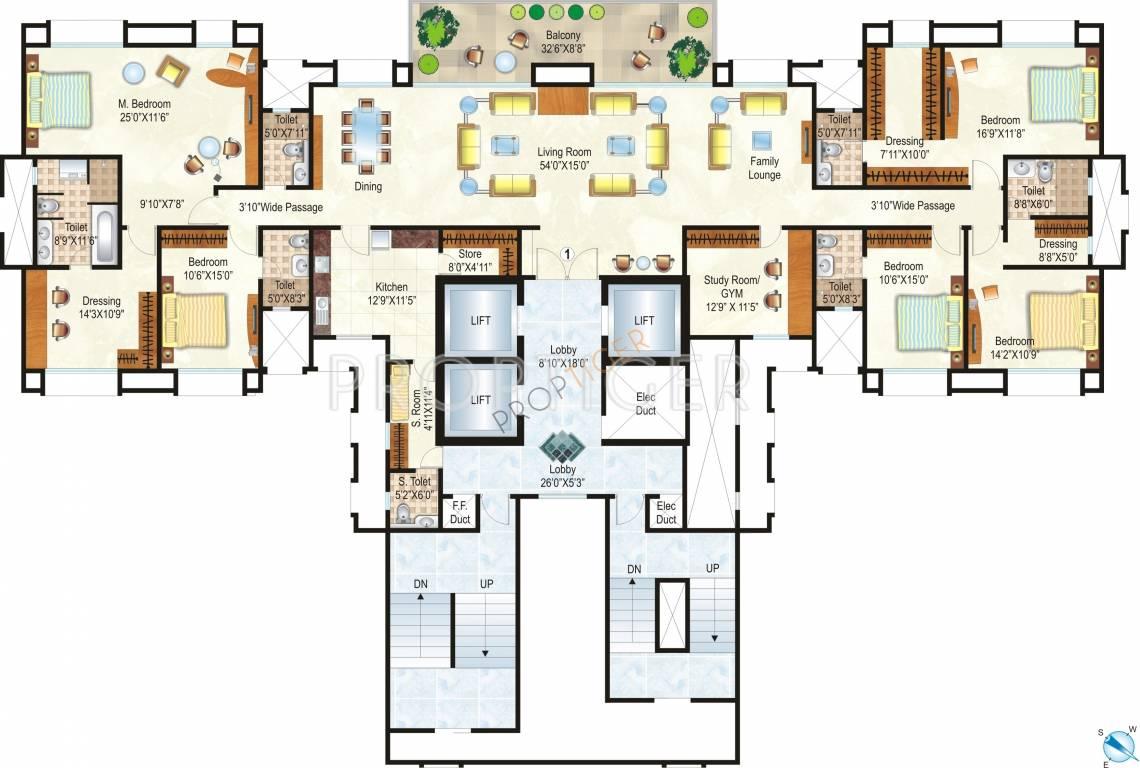 5000 sq ft 5 bhk 7t apartment for sale in hiranandani for Apartment floor plans australia