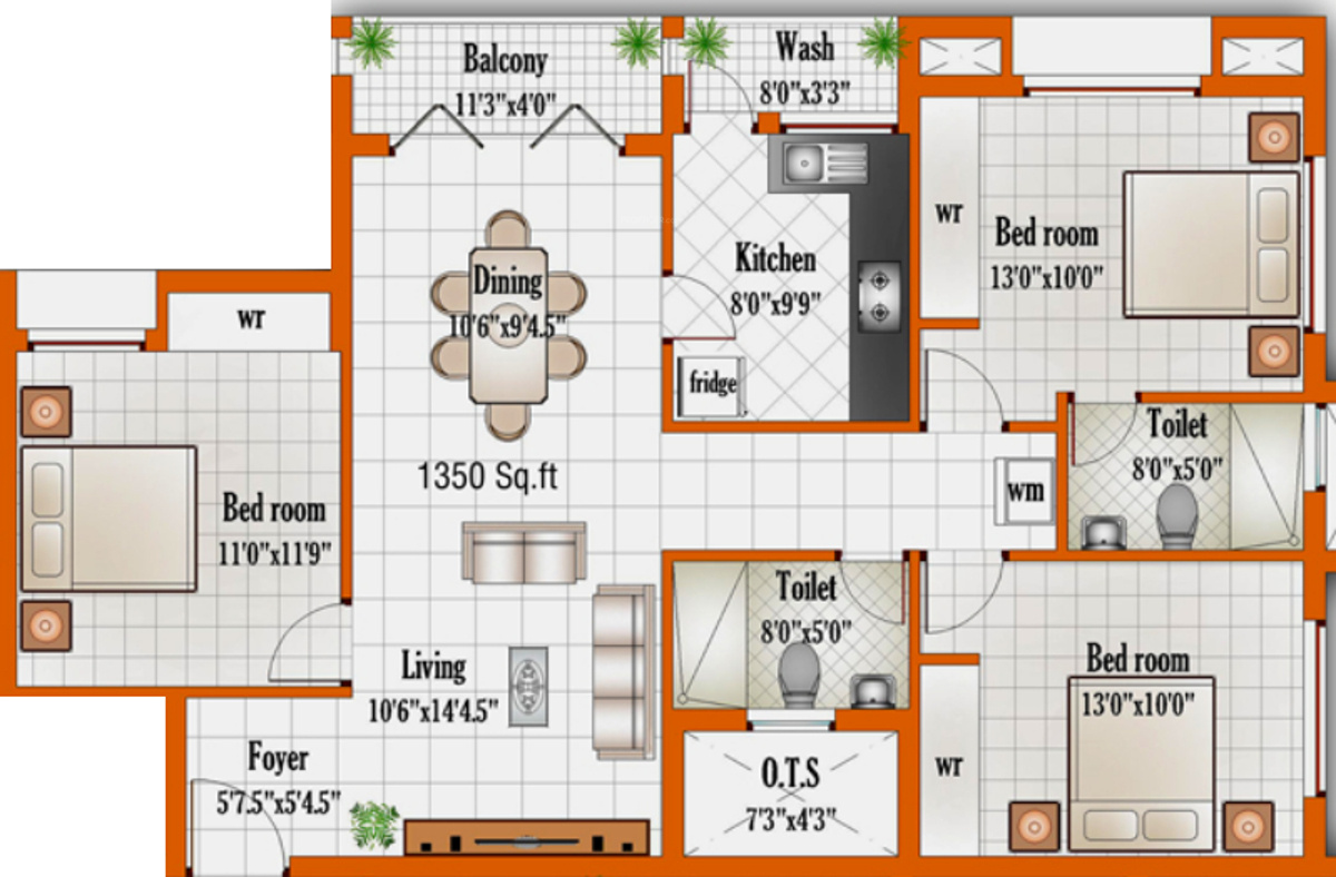 1350 sq ft 3 bhk 2t apartment for sale in golden homes for 1350 sq ft house plan