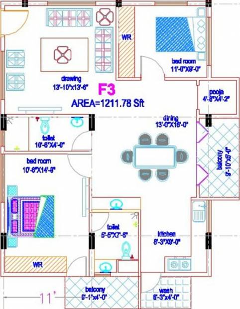 Smaart Forte (2BHK+2T (1,211 sq ft) + Pooja Room 1211 sq ft)