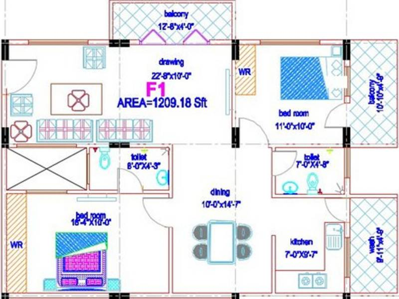Smaart Forte (2BHK+2T (1,209 sq ft) 1209 sq ft)