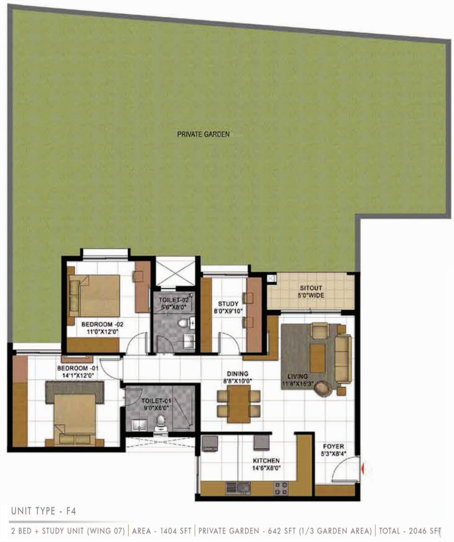 2046 Sq Ft 3 Bhk 2t Apartment For Sale In Prestige Group