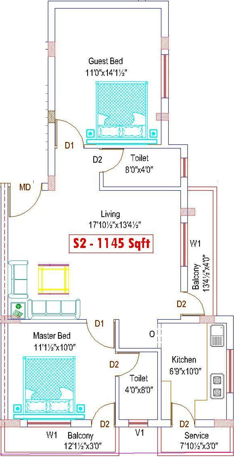 1145 sq ft 2 bhk 2t apartment for sale in adan lake view for Lake view floor plans