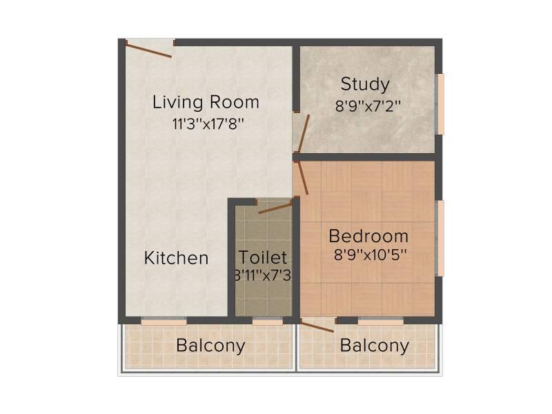 Mayfair Platinum (1BHK+1T (608 sq ft)   Study Room 608 sq ft)