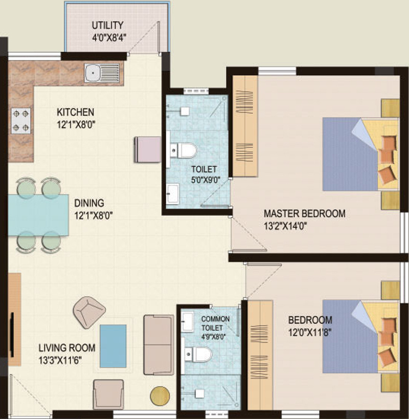1120 sq ft 2 bhk 2t apartment for sale in live spacess adl for 1120 westchester place floor plan