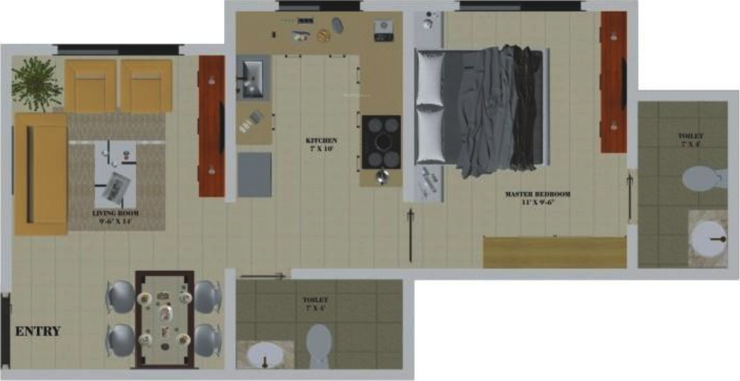 600 Sq Ft 1 Bhk 2t Apartment For Sale In Oyster Living