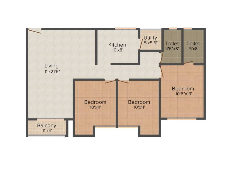 Emami City (3BHK+2T (1,455 sq ft) 1455 sq ft)