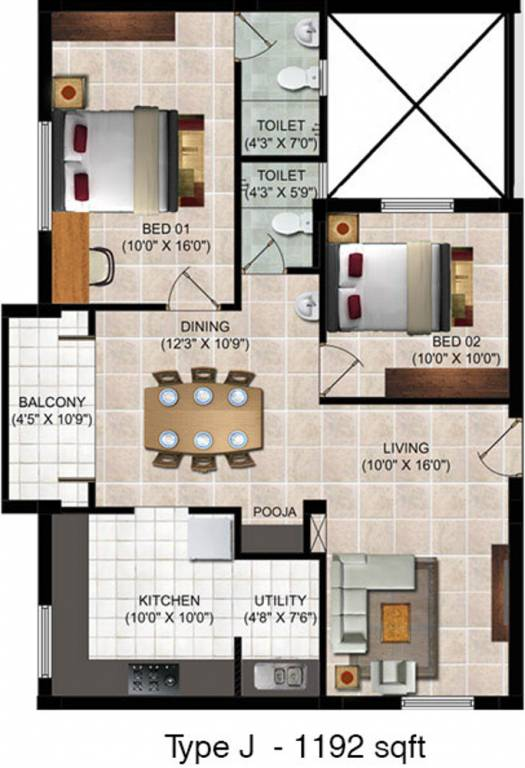 1192 Sq Ft 2 Bhk 2t Apartment For Sale In Global Habitat