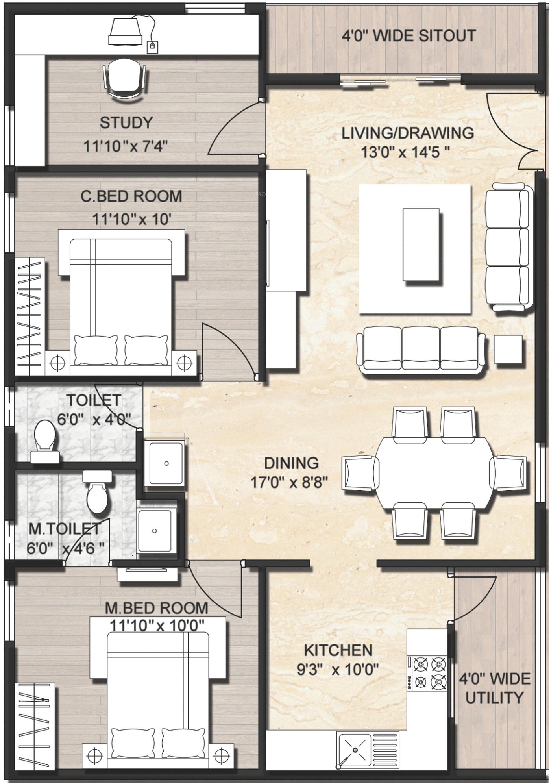 Terrific 3bhk House Plan India Ideas - Best inspiration home ...