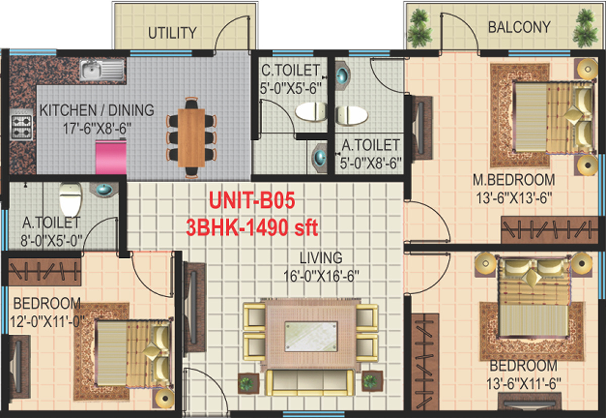 1490 sq ft 3 bhk 3t apartment for sale in amigo shelters for Lake view floor plans