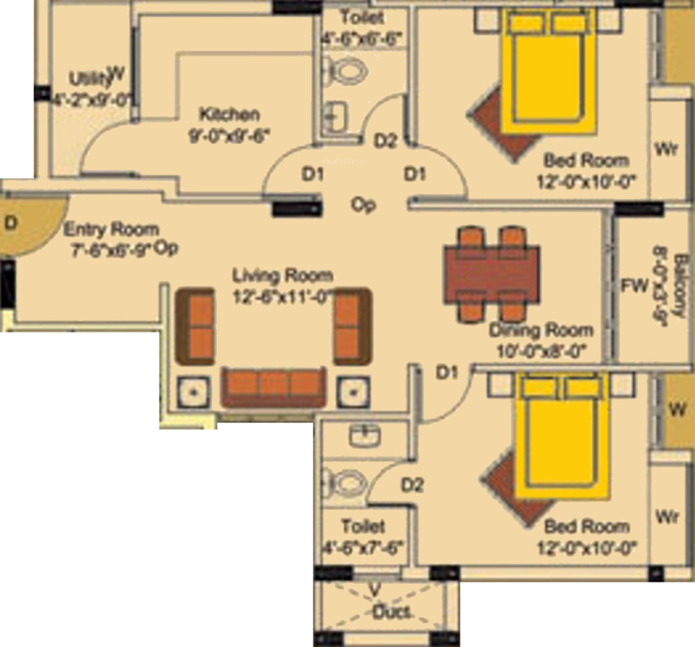 1020 sq ft 2 bhk 2t apartment for sale in suvarna builders for X2 residency floor plan