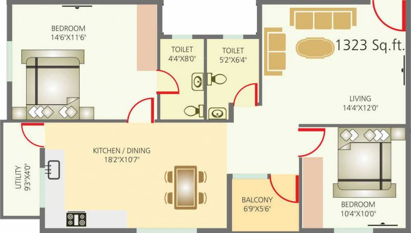 Sriven Rag Serenity (2BHK+2T (1,323 sq ft) 1323 sq ft)