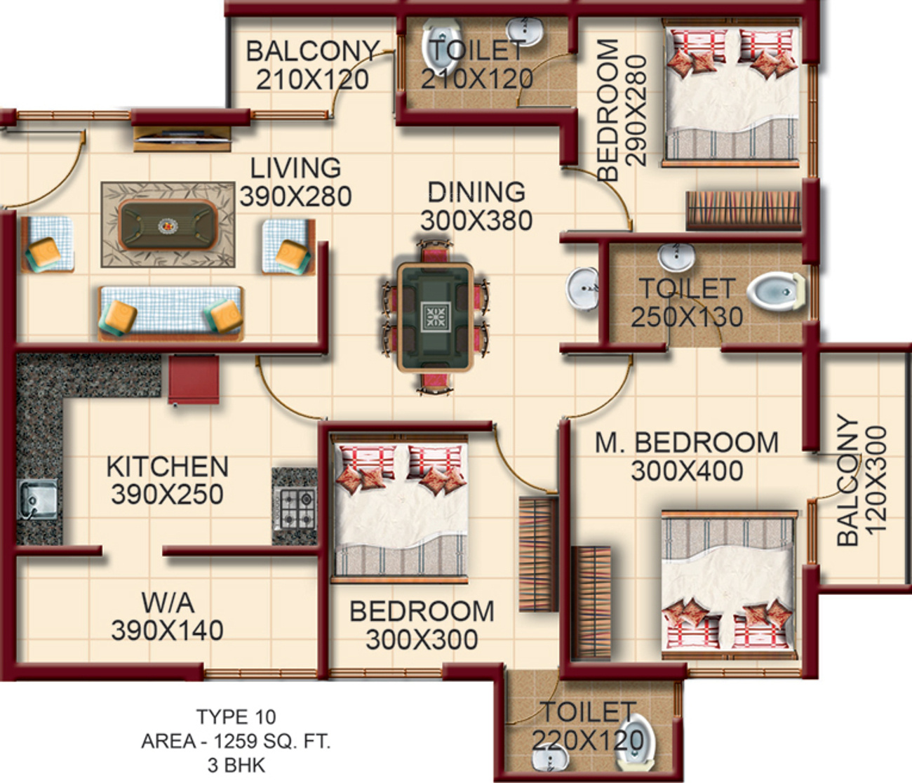 1259 sq ft 3 bhk 3t apartment for sale in alba homes for Monarch homes floor plans