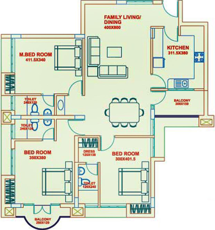 1485 sq ft 3 bhk 3t apartment for sale in artech realtors for Floor plans for realtors