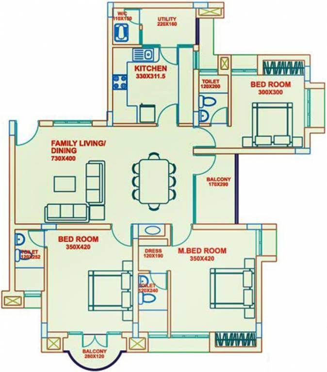 1450 sq ft 3 bhk 3t apartment for sale in artech realtors for Floor plans for realtors