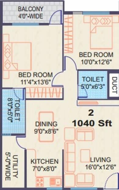 Vishnu Paradise (2BHK+2T (1,040 sq ft) 1040 sq ft)