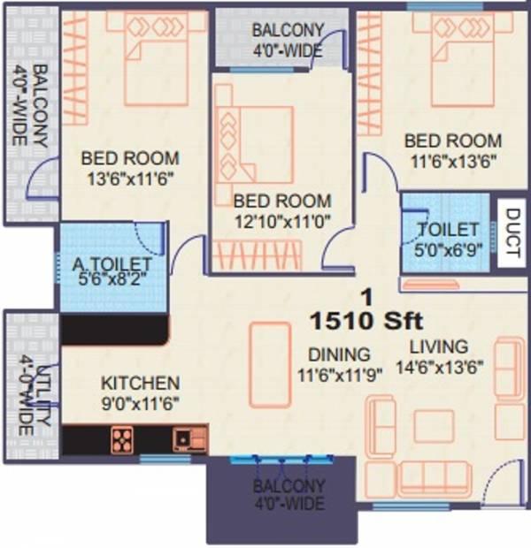 Vishnu Paradise (3BHK+2T (1,510 sq ft) 1510 sq ft)