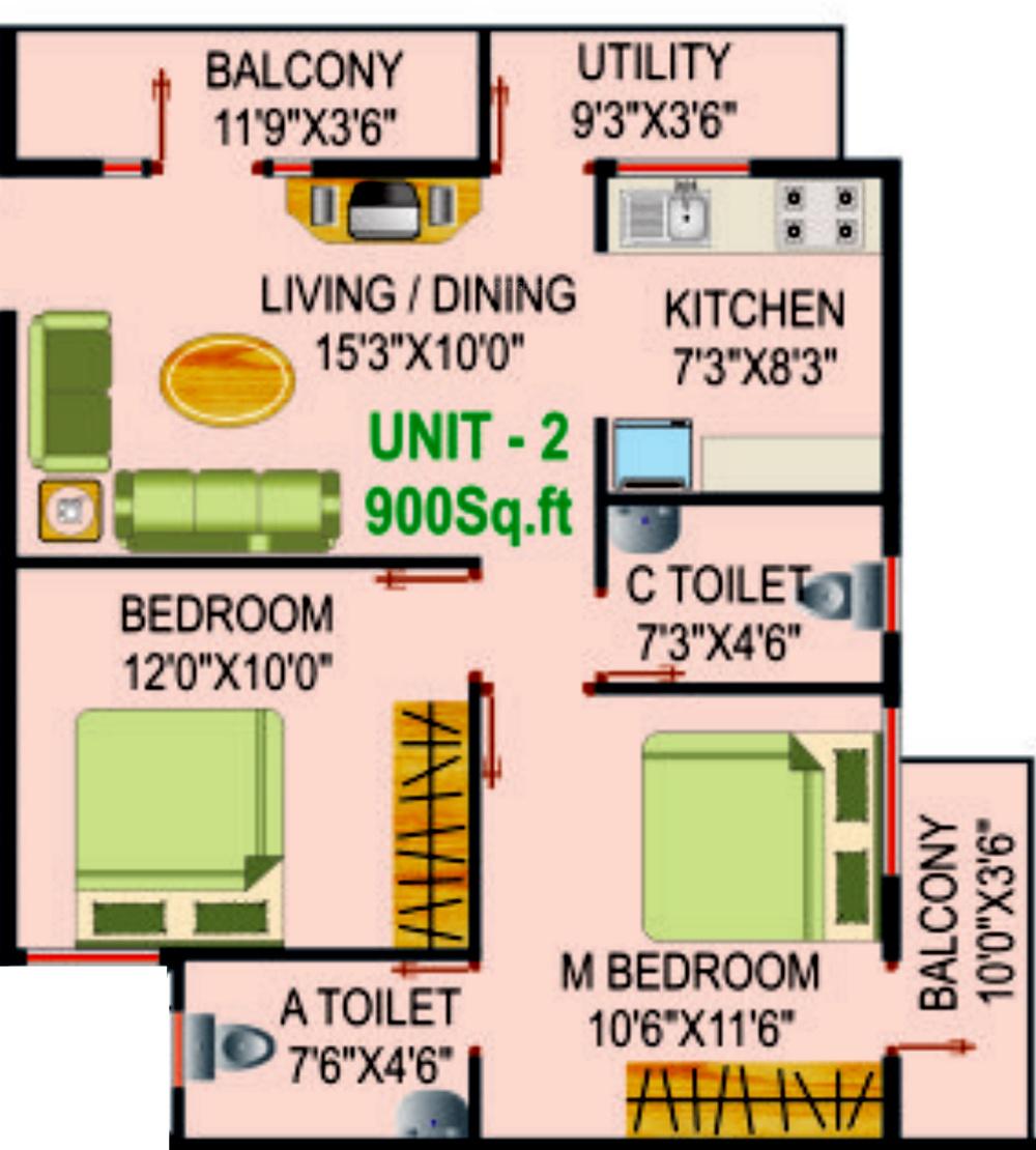900 sq ft 2 bhk 2t apartment for sale in siri housing skanda