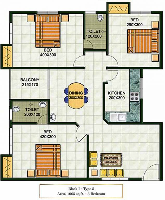 1065 Sq Ft 3 BHK 2T Apartment For Sale In Galaxy Homes