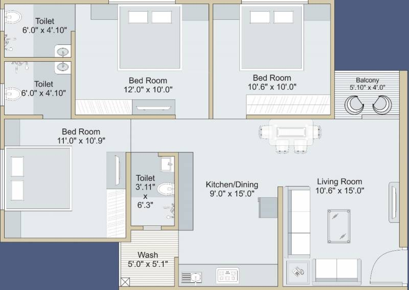 Saral Life Arena (3BHK+3T (1,370 sq ft) 1370 sq ft)