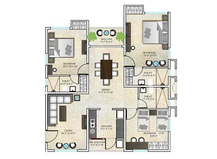DTC Southern Heights (3BHK+3T (1,370 sq ft) 1370 sq ft)