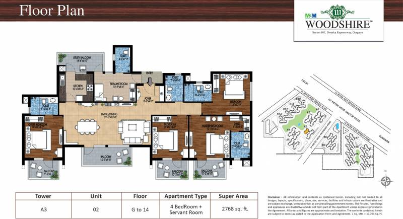 M3M Woodshire (4BHK+4T (2,768 sq ft) 2768 sq ft)