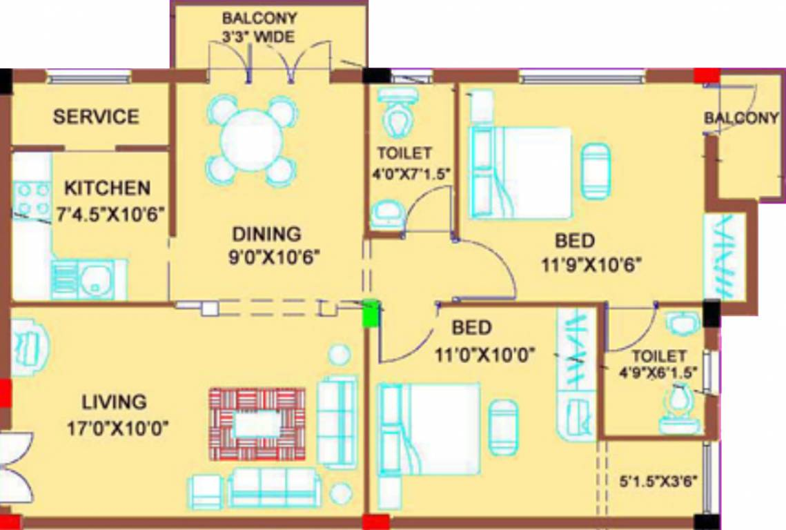 1000 sq ft 2 bhk 2t apartment for sale in shiyam thirth for 1000 sq ft flat plans
