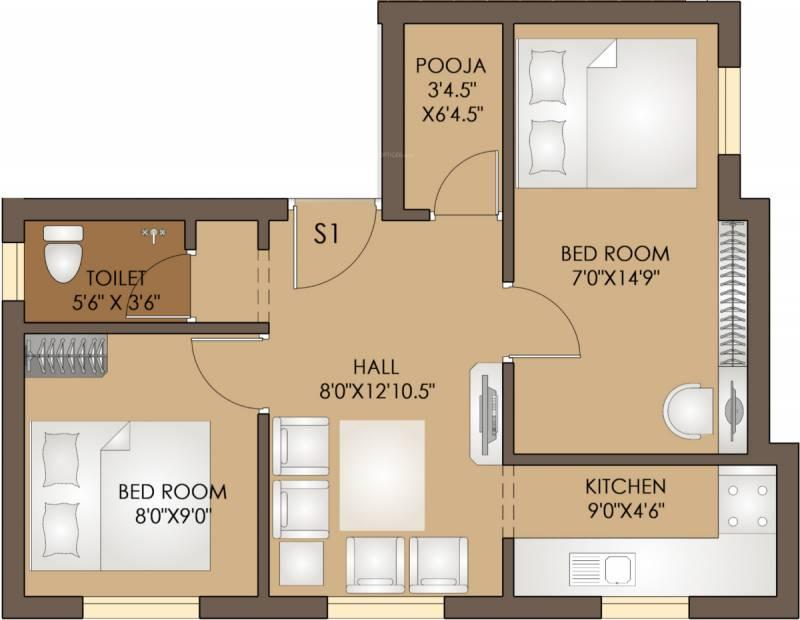 Uncategorized 560 Sq Ft 560 sq ft 2 bhk floor plan image annai engineering pearl iii residency 2bhk1t sq