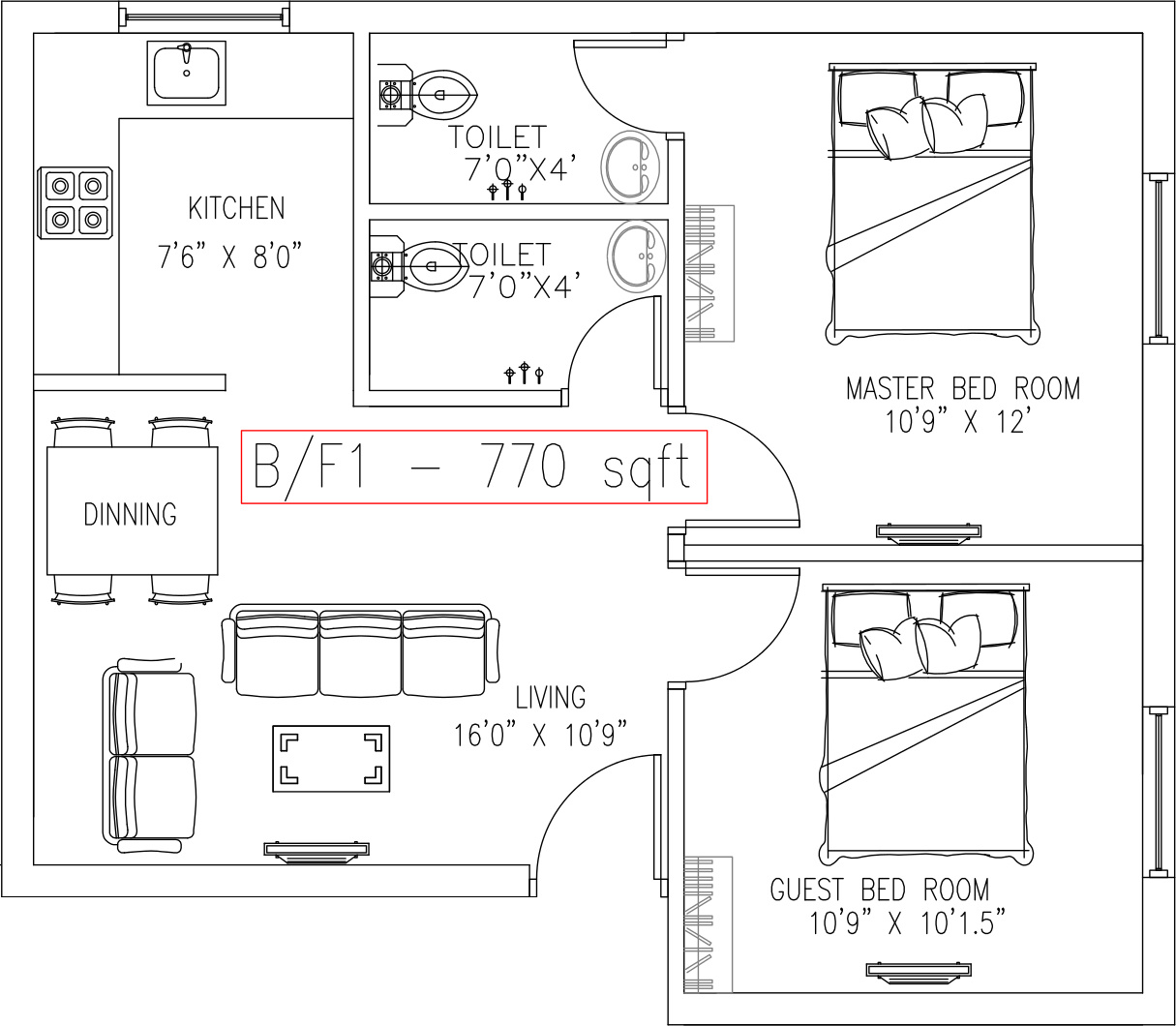 770 sq ft 2 bhk 2t apartment for sale in real agent india for 770 plan
