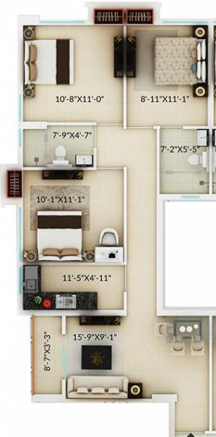 Amaya Amaya Residences (3BHK+2T (1,130 sq ft) 1130 sq ft)