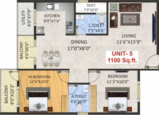 1100 sq ft 2 bhk 2t apartment for sale in sv infra luxuria for 1100 sq ft apartment floor plan