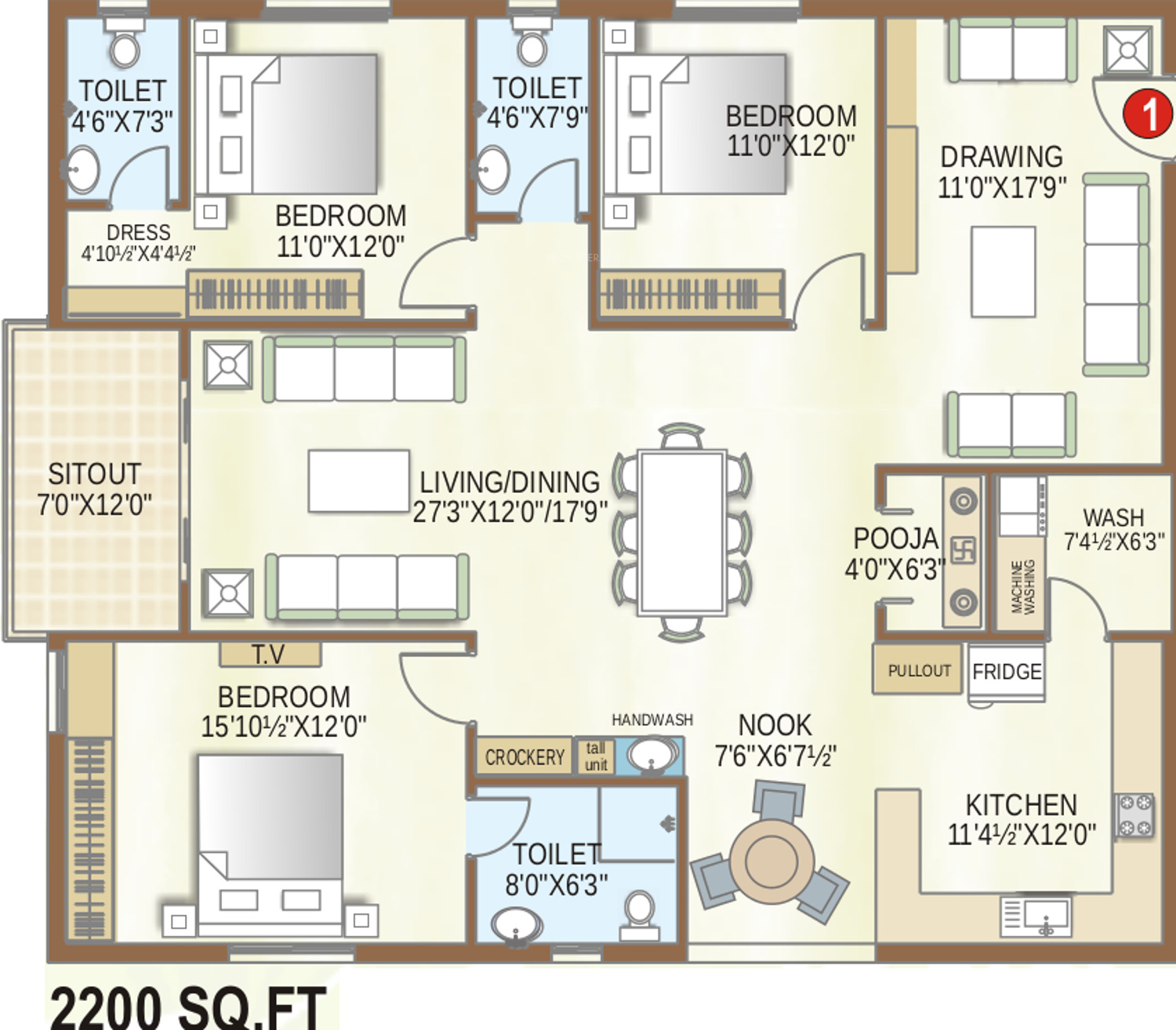 2200 sq ft 3 bhk 3t apartment for sale in my place mypi green