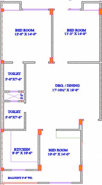 Landmark Builder Amber Floor Plan (3BHK+2T (1,550 sq ft) 1550 sq ft)
