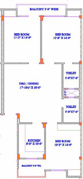 Landmark Builder Amber Floor Plan (3BHK+2T (1,600 sq ft) 1600 sq ft)
