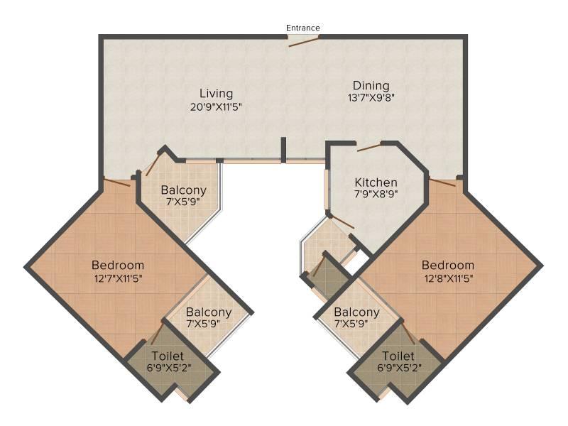 Trinity Venus (2BHK+3T (1,320 sq ft) + Servant Room 1320 sq ft)